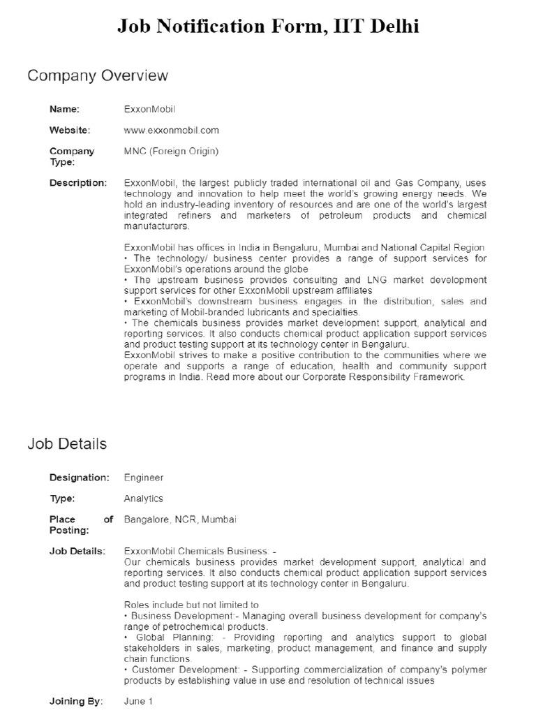 ExxonMobil (Engineer) pdf