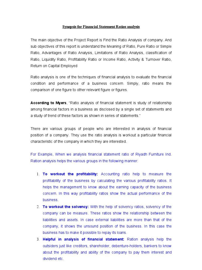 Synopsis Ratio Analysis   Financial Statement   Ratio