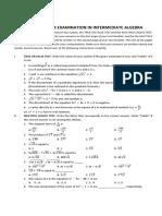 Fourth Quarter Examination in Intermediate Algebra