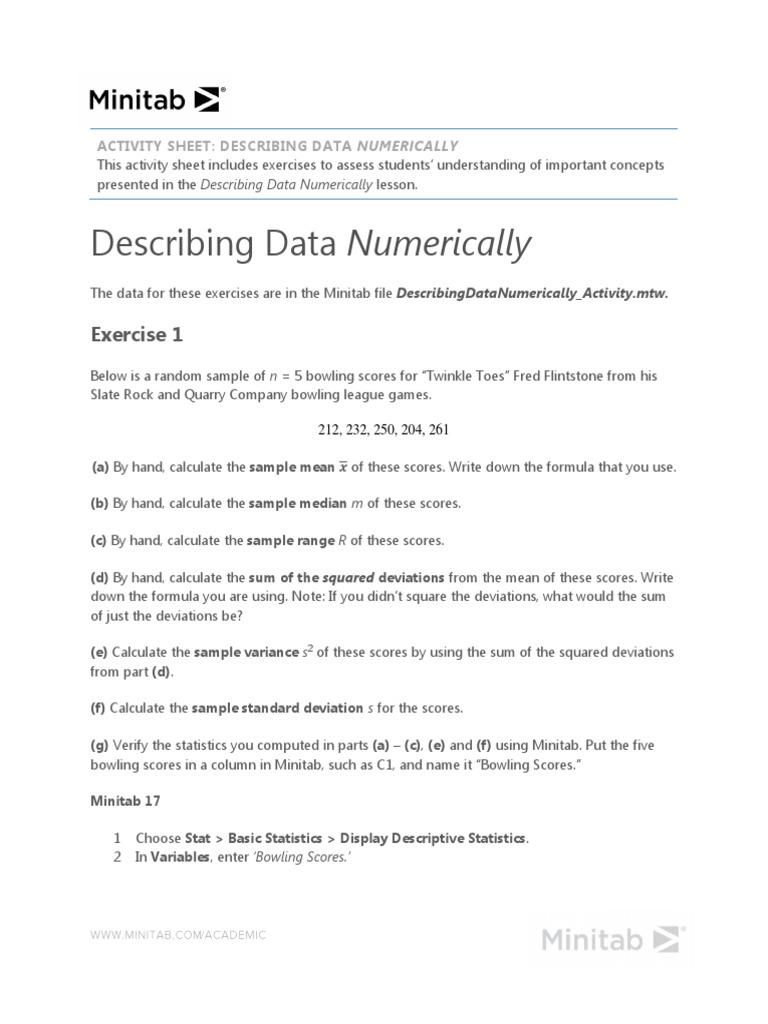 DescribingDataNumerically_Activity pdf | Variance | Median