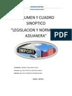 Resumen y Cuadro Sinoptico Legislacion Normativa Aduanera