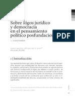 Sobre lógos jurídico y democracia en el pensamiento político posfundacional