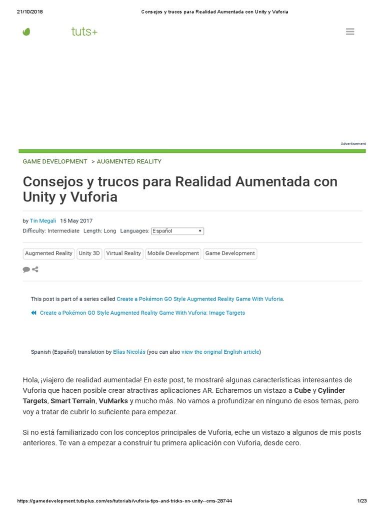 Consejos y trucos para Realidad Aumentada con Unity y