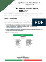 Convocatoria LNCA 4ta Temporada 2019