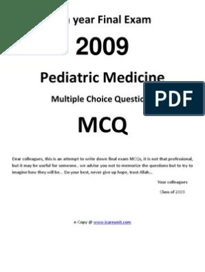 6th Year Final MCQ Pediatric | Measles | Rtt
