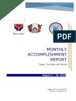 DSWD KALAHI Accomplishments for August 1-20-2014 Dapa Sdn