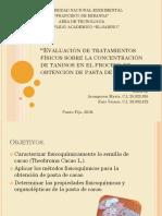 Influencia de taninos en la pasta de cacao. Aranguren, Ruiz.