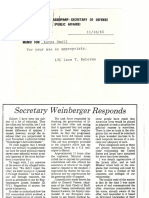 Weinberger Letter to Editor