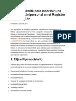 Guía de Trámite Para Inscribir Una Empresa Unipersonal en El Registro de Comercio