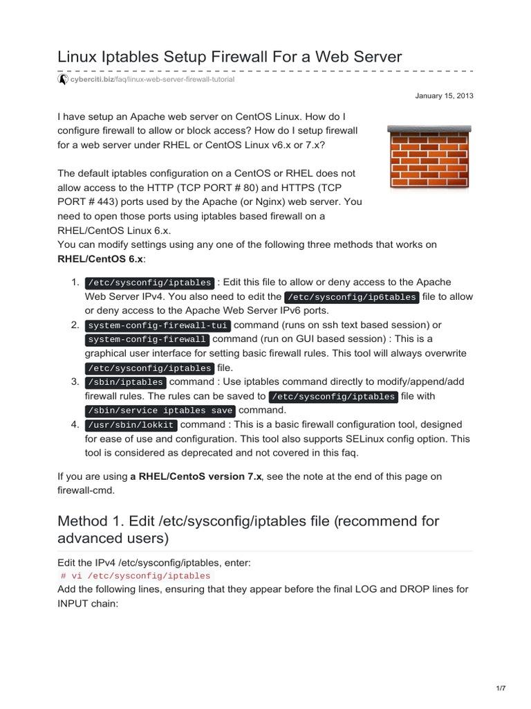 Cyberciti biz-Linux Iptables Setup Firewall for a Web Server