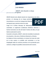 Comunicado ANCAP Situación Boya José Ignacio