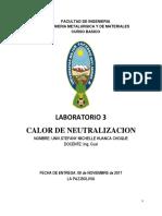 Informe de laboratorio Calor de Neutralizacion  FISICOQUIMICA