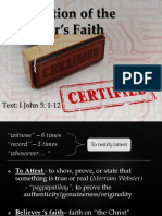 1. Attestation of the Believer's Faith