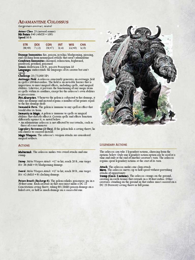 5e Adamantine Colossus Entertainment Fantasy Free 30 Day