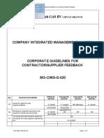 MG-CIMS-G-020 Rev A3 Corporate Procedure for Contractors Vendors Suppliers Feedback
