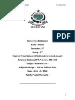 Assault and Criminal force under Pakistan penal code