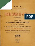 Carta Acerca Del Origen de La Imagen de Nuestra Señora de Guadalupe de México