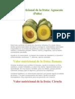 Valor Nutricional de La Fruta