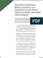 Martín Lousteau y Una Invitación Curiosa Llamó a Invertir en Países Más Estables Como Paraguay