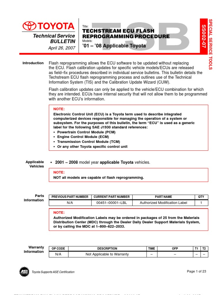 TECHSTREAM ECU FLASH REPROGRAMMING PROCEDURE U2013SS002 07   Battery  (Electricity)   Calibration