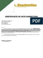 Cert of Site Insp