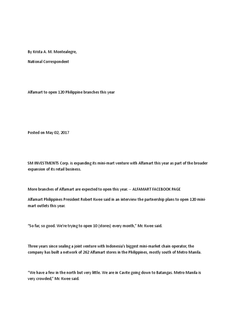 contoh business plan alfamart