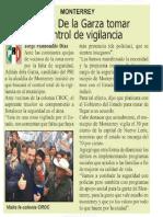 09-12-18 Buscará De la Garza tomar el control de vigilancia