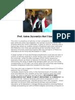 Prof Lakshman writes about Anton Jayasuriya that he knew.....