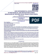 DEVELOPMENT AND EXPERIMENTAL INVESTIGATION  OF MECHANICAL AND MICROSTRUCTURAL BEHAVIOUR 0F WELDED DUAL PHASE STEELS (DPS)