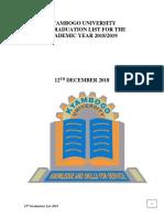 Kyambogo University 15th Graduation List December 2018