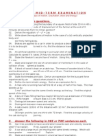 Physics Mid-term Test