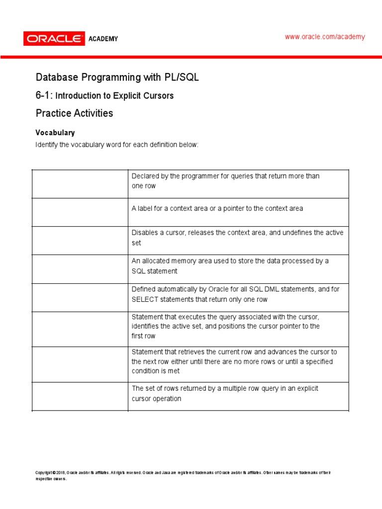 PLSQL_6_1_Practice | Pl/Sql | Sql