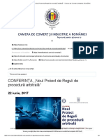 CONFERINȚA ,,Noul Proiect de Reguli de Procedură Arbitrală'' - Camera de Comerț Și Industrie a României