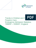 UK Trends in Children and Young People's Care- Emerfency Admission Statistics, 1996-2006, England