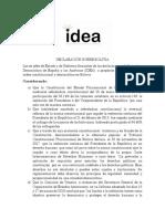 Declaración IDEA Bolivia