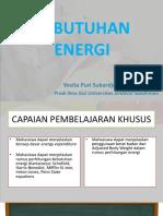 Kebutuhan Energi Yovita Unsoed