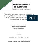 Preparación para la comprensión e interacción de la era digital de acuerdo a la etapa de desarrollo de los alumnos de tercero de preescolar en colegio privado de Querétaro (Documento)