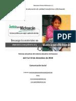 Síntesis Educativa Semanal de Michoacán al 10 de diciembre de 2018