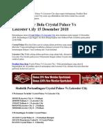 Prediksi Skor Bola Crystal Palace vs Leicester City 15 Desember 2018
