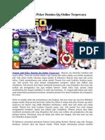 Tempat Judi Poker Domino Qq Online Terpercaya