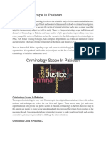 Criminology Scope in Pakistan