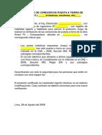 Certificado de Conexión de Puesta a Tierra de Equipo Fijo
