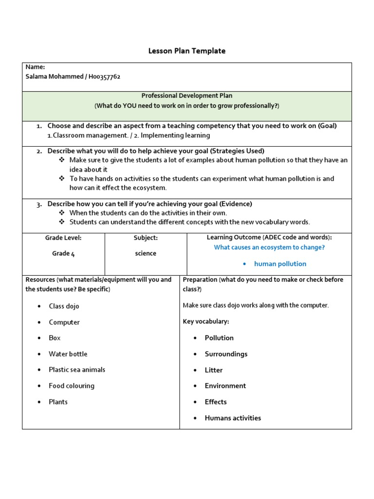 Lesson Plan Template | Lesson Plan | Natural Environment