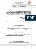 mba business research approval sheet