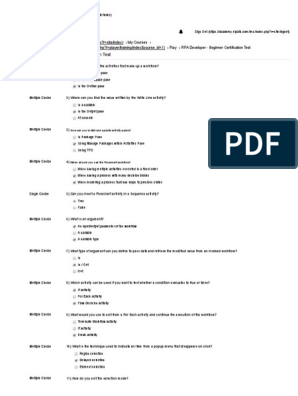 UiPath final Certification Exam pdf | Parameter (Computer