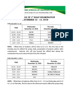 Schedule of 1st Half Examination- For Posting