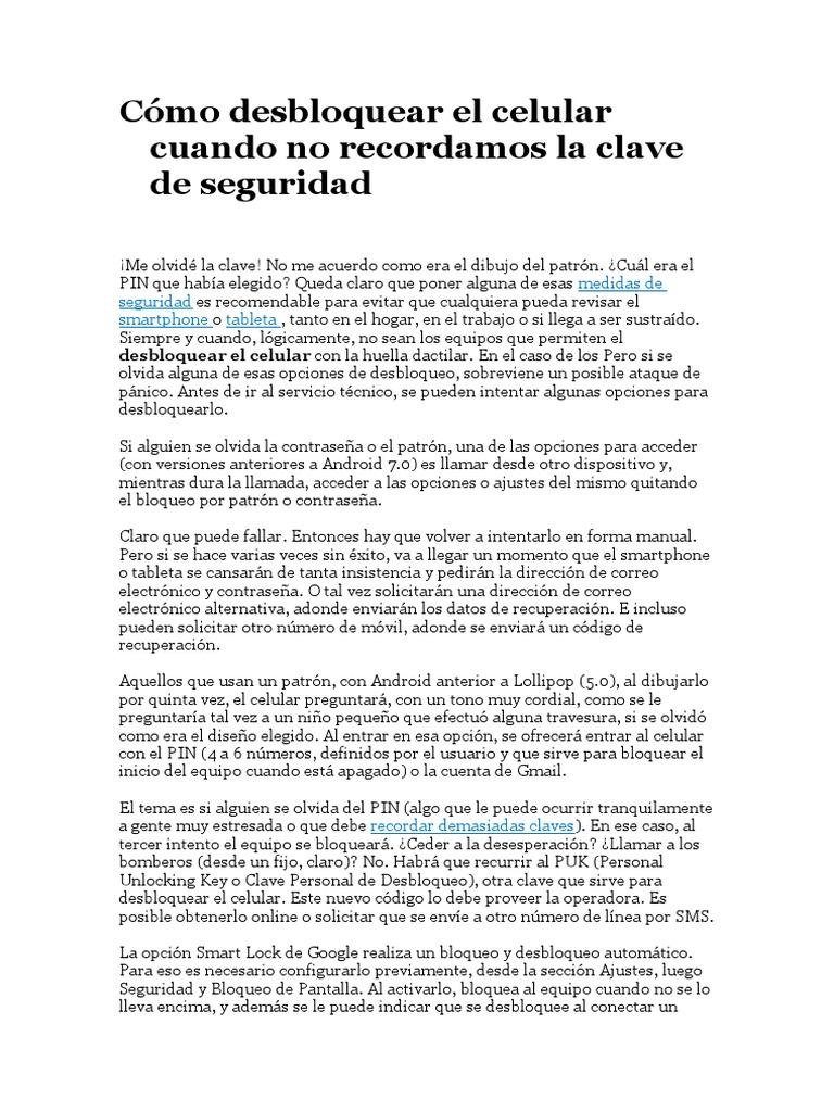 2fa9bc1769d Cómo Desbloquear El Celular Cuando No Recordamos La Clave de Seguridad - LA  NACION