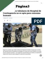 Agua de Pozos Tubulares de Hospital de Contingencia No Es Apta Para Consumo Humano