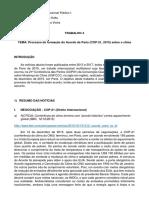 UFRGS - Direito Internacional Publico I – 2017.2 - Trabalho 4 - Prof Kaku - Aluno Volmar - Acordo de Paris