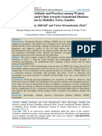 Knowledge, Attitude and Practices among Women Attending Antenatal Clinic towards Gestational Diabetes Mellitus in Mufulira Town, Zambia